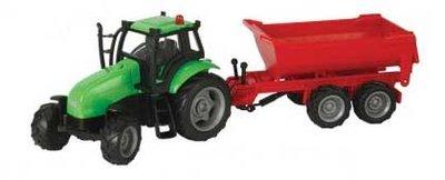 Kids Globe 510653 tractor met rode kipper (schaal 1:50)