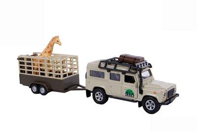 Kids Globe Land Rover met Giraffe trailer