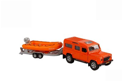 Kids Globe Land Rover met reddingsboot